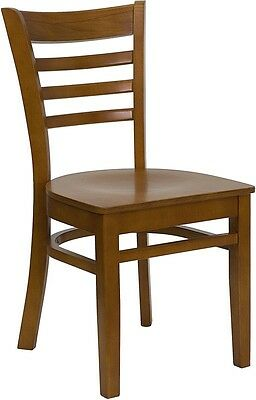Cherry Wood Finished Ladder Back Restaurant Chair With Matching Wood Seat
