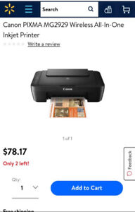 Imprimante CANONPIXMA MG 2929 WIRELESS ALL IN ONE INKJET PRINTER