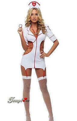 Sexy Lingerie Nurse Costume Adult Women Halloween Outfit Fancy Dress 5Pcs Set c