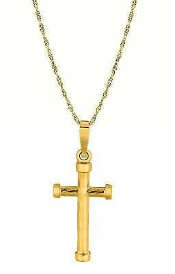 14K Real Yellow Gold Baby Cross Charm Pendant Necklace 16