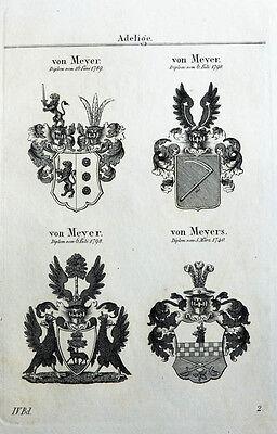1837 4 Wappen von Meyer Meyers Kupferstich Tyroff