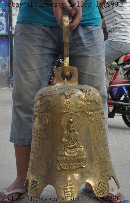 """20"""" chinese brass dragon Phoenix Kwan-Yin sakyamuni buddha Hanging Clock Bell"""