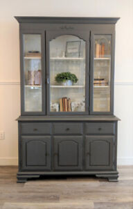 Vintage Buffet and Hutch in Dark Grey with Working Light