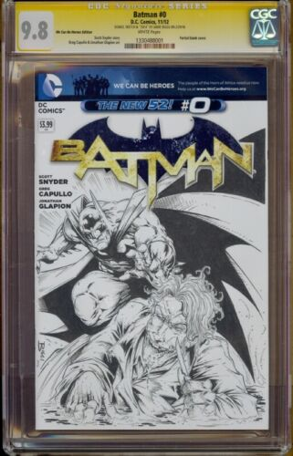 Batman #0 CGC 9.8 Original Batman vs Joker sketch by Jamie Biggs