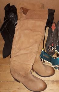 Over the knee tan leather boots