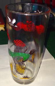 VINTAGE 1940s HAZEL ATLAS GLASS COCKTAIL SHAKER Pheasant HUNTING