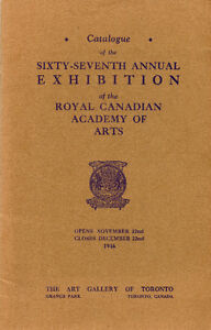 ROYAL CANADIAN ACADEMY OF ARTS SIXTY-SEVENTH ANNUAL 1946 London Ontario image 1