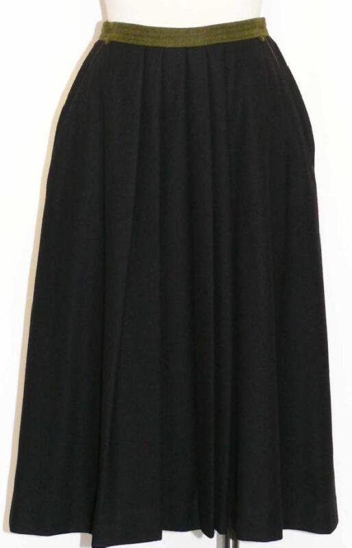 BOILED WOOL SKIRT Long German PLEATED Winter Career Casual Suit Dress BLACK 6 S