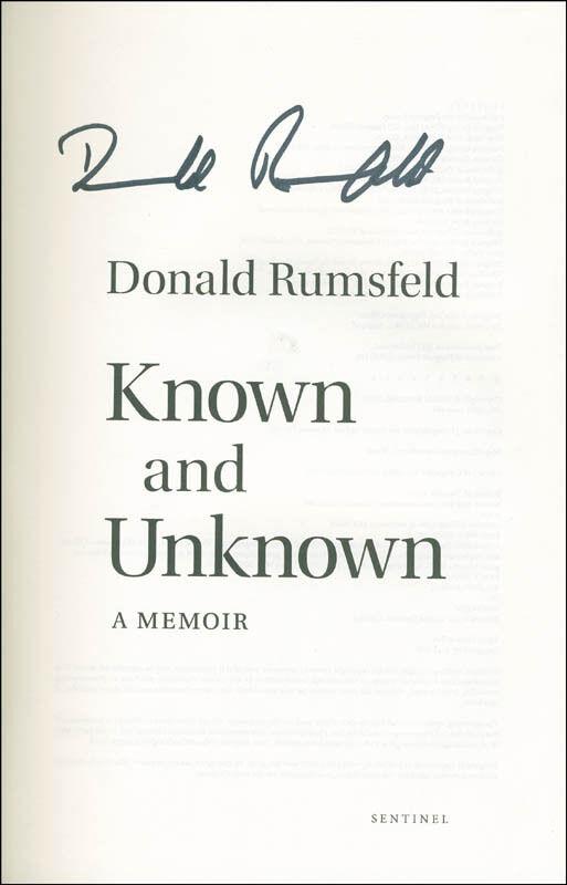DONALD RUMSFELD - BOOK SIGNED