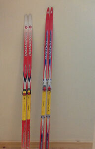 Cross country skis, ski bag, down jacket, roller skis and more!