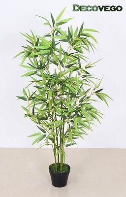 Bambus Kunstbaum Kunstpflanze Künstliche Pflanze mit Echtholz 120cm Decovego