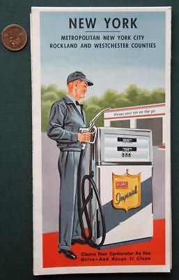 1962 Atlantic Oil Gas service station Metropolitan New York road map-VINTAGE!