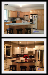 SPRAY PAINTING, REFINISHING KITCHEN CABINETS DOORS and DRAWERS