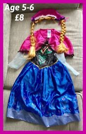 ANNA FROZEN DRESS & WIG AGE 5-6