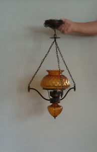 Luminaire suspendue verre ambre vintage suspended light fixture