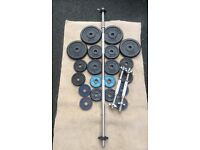 41kg CAST IRON WEIGHT PLATES A BARBELL AND A PAIR OF DUMBBELLS