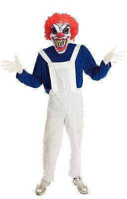 Komplette Zombie Kostüm (Herren Zombie Clown Kostüm Horror Komplett Kostüm Halloween Outfit & Maske NEU)