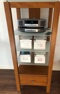 Entertainment  & Display shelf unit with frosted glass