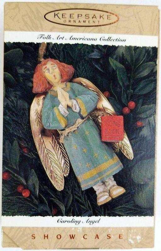 Hallmark Ornament 1996 Caroling Angel Folk Art Americana Collection NIB