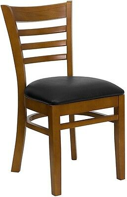 Cherry Wood Finished Ladder Back Restaurant Chair With Black Vinyl Seat