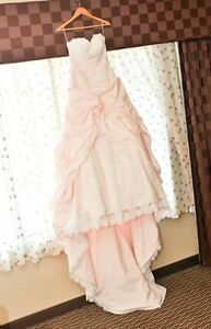 beautiful blush wedding dress for sale with white lace