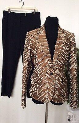 NWT Anne Klein WMNS Brown Black Saddle Combo Polyester Blend Pant Suit Sz 8 $280