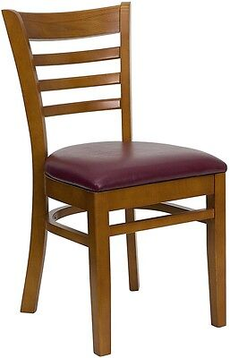 Cherry Wood Finished Ladder Back Restaurant Chair With Burgundy Vinyl Seat