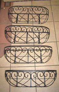 4 New Identical black Iron Flower pot Holders