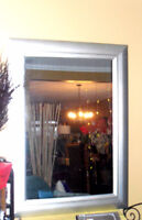 Pier 1 Home decor / Large accent mirror  wide Silver frame  32