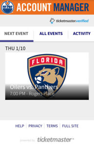Oilers vs panthers Jan 10th game