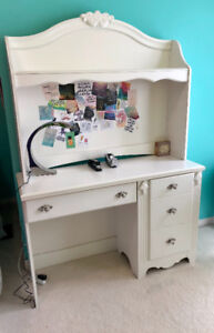 Wooden White desk with hutch
