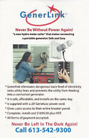 GenerLink  power - home/cottage during power outages $1695.00