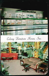 York Pa Colony Furniture House Inc Store Vintage Night View Postcard Early Old