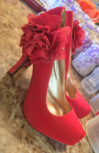 Red suade shoes