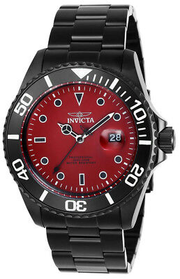 Invicta Pro Diver 23007 Men's Round Black Red Analog Date Stainless Steel Watch