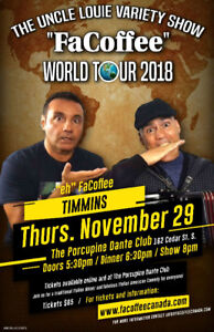 """The Uncle Louie Variety Show  """"Facoffee"""" World Tour + Dinner"""