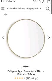 Brand new still boxed round brass mirror