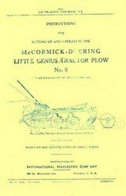 International Mccormick Deering No 8 Little Genius Tractor Plow Operators Manual
