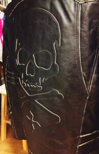 AFFLICTION LEATHER JACKET SCHOTT PERFECTO HARLEY MOTORCYCLE L XL
