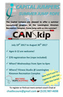 Capital Jumpers Summer Jump Rope Recreational Program