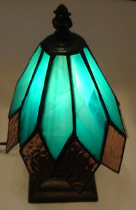 SMALL -  NIGHT TABLE LAMP -LEADED GREEN GLASS