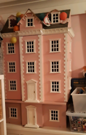 Dolls house, wooden, large with basement