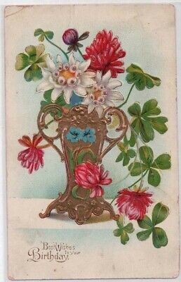 ANTIQUE POSTCARD: BEST WISHES TO YOUR BIRTHDAY, VERY GILDED VASE & FLOWERS -Y08
