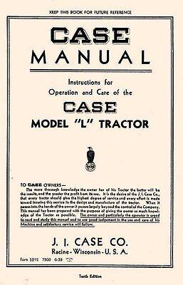 Case L - La - Lae Tractor Owners Operators Manual