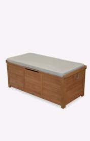 BRAND NEW!!Garden Wooden chest beige- caja 125 x 60 cm storage cushion