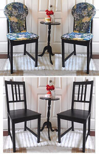 Refinished! 4 Pine Dining Chairs with New Chair Pads