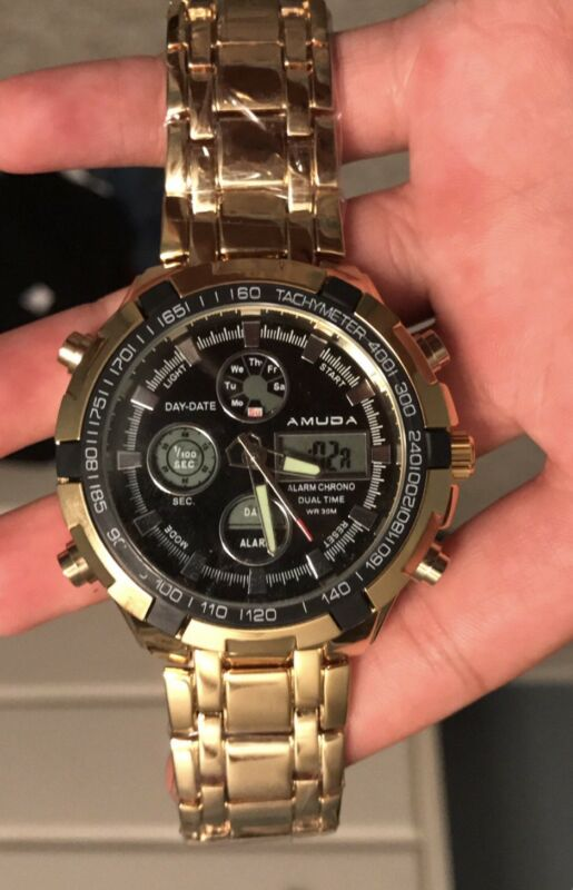 Gold digital Watch Men