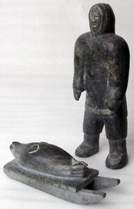 "10"" hunter and 7"" seal/sled Inuit sculpture eskimo soapstone"