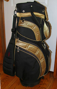 "Excellent Condition Black and Gold Finish ""Lopez"" Golf Cart Bag"