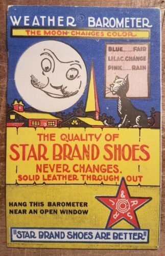 Vintage Star Brand Shoes Hold to Light Trade Card Adv Barometer Moon Changes